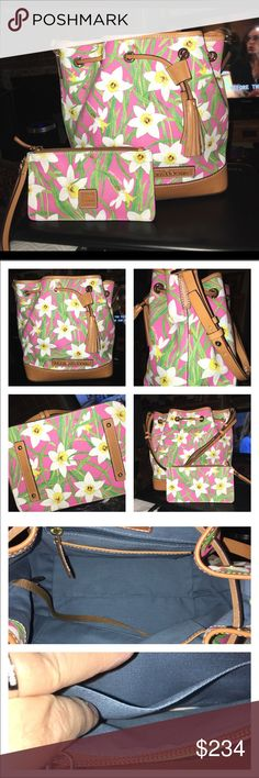 """NWOT Dooney and Bourke Daffodil Drawstring Dooney and Bourke Kendall Leather Drawstring and Wristlet. This Gorgeous set is no longer available in any store or online, it's retired! The bag has 1 zip and multiple slip pockets, a whole lot of room! The mix of floral print and luggage color is amazing! The bag measures 18 X 12 X 7 and leather adjustable handle drop is 10"""" The Wristlet has 2 pockets/compartments and a key chain it measures 9.5 X 6 no trades Dooney & Bourke Bags Satchels"""