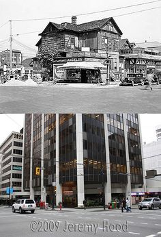 NW Corner of Howe & Dunsmuir - Old Pictures, Old Photos, West Coast Canada, Seymour, Then And Now Photos, Downtown Vancouver, Travel Posters, British Columbia, Art Images