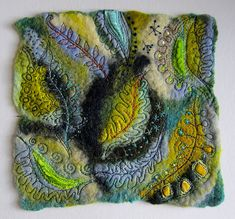 The Lake Isle of Innisfree - Jackie Cardy textiles Nuno Felting, Needle Felting, Free Machine Embroidery, Hand Embroidery, Fabric Art, Fabric Crafts, A Level Textiles, Felt Pictures, Creative Textiles