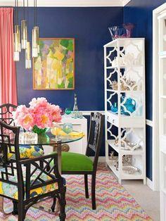 dining room set up colored carpet pendulum lights
