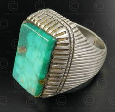 Turquoise and silver ring R284A. Central Asia culture.