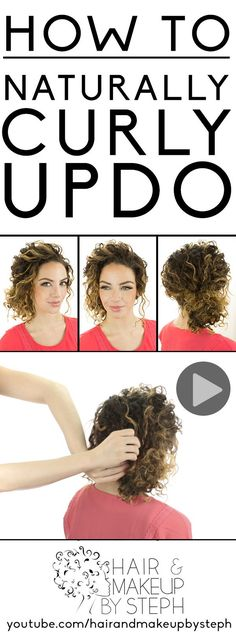 Hair Tutorials : Styling tips and video tutorial for a naturally curly updo. Curly Hair Model, Curly Hair Styles, Natural Hair Styles, Curly Girl, Natural Curls, Short Curly Updo, Natural Beauty, Naturally Curly Updo, Curly Hair Problems