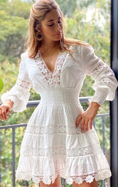 Material: Polyester Silhouette: A-Line Dress Length: Above Knee Sleeve Length: Nine Points Sleeve Sleeve Type:. Casual Dresses, Fashion Dresses, Summer Dresses, Mini Dresses, Fashion Styles, Plain Dress, White Dress, Embroidery Fashion, Sweet Dress