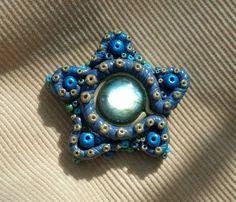"""Lighten Up, Squidward"";  Cosmic Clay by Spirit Spellweaver --Clay & Natural Labradorite Star Trinket. Sold."