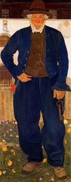 Portrait of Edouard Rod, 1909 by Ernest Bieler (Les Clefs de la cave). An inn keeper with the keys to the tavern cellar? - in his solid, honest, working clothes.