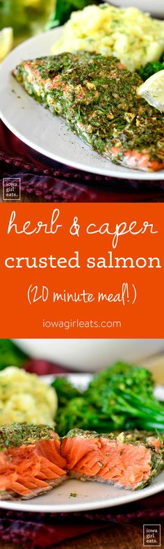Herb and Caper Crusted Salmon is a light and healthy gluten-free dinner that takes just 20 minutes start to finish! Vegetarian Recipes Easy, Delicious Vegan Recipes, Clean Eating Recipes, Healthy Eating, Salmon Recipes, Fish Recipes, Seafood Recipes, Dinner Recipes, Party Recipes