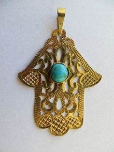 Hamsa with turquoise, gold, Morocco