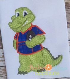 Baby Kay's Appliques - Alligator Mascot Football Player 4x4, 5x7, 6x10, 8x8, 8x12, $4.00 (http://www.babykaysappliques.com/alligator-mascot-football-player-4x4-5x7-6x10-8x8-8x12/)
