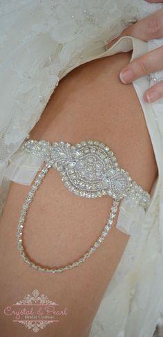 LOUISA VINTAGE PEARL CRYSTAL LACE GARTER Wedding Garter Bride Rhinestone