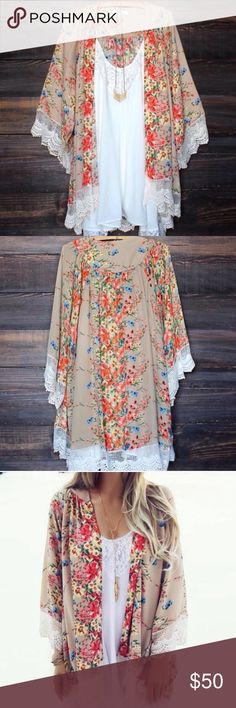 PREORDER Floral & Lace Bohemian Kimono NWT 1x kimono new in packaging. (Does not include any other accessories, just the kimono). Ordering a couple sizes so please like this listing to be notified when this item arrives! Price will be set at $25 each and will not be negotiable in price. ❌No trades❌ Boutique Tops