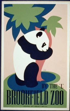 By the 'L' Brookfield Zoo. This poster by WPA artist Frank W. Long shows a panda bear hugging a tree as an advertisement for the Brookfield Zoo. The poster was created between 1936 and 1938 as part of the Federal Art Project in Illinois. Vintage Art Prints, Poster Vintage, Vintage Travel Posters, Vintage Safari, Vintage Canvas, Vintage Graphic, Graphic Art, 3 Canvas Art, Canvas Size