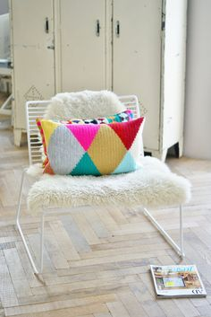 wood  wool harlequin pillow