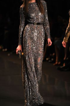 Glittery grey. The semi-sheer (a.k.a. semi-opaque) trend is wearing a little thing, pun intended, but I still like this one. (Elie Saab| Fall 2012)