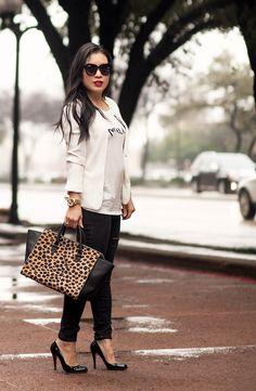 cute & little blog | petite fashion | monochrome white blazer, graphic print tee, black distressed jeans, louboutin decollete, clare v leopard sandrine satchel, hourglass icon red lipstick outfit