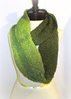 Olive Green Infinity Knit Scarf by OakliesFashions on Etsy