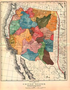 """ARID REGION OF THE UNITED STATES, SHOWING DRAINAGE DISTRICTS""  from John Wesley Powell's 1890 map  published in the Eleventh Annual Report of the U.S. Geological Survey. This map stands in opposition of the Jeffersonian grid used to device the political boundaries of US"