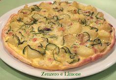 INGREDIENTI - 1 rotolo di pasta brisée - 2 mozzarelle - 1 zucchina - 2/3 patate - 1 uovo - 1 spicchio di aglio - 1 rametto di rosmarino - un po' di latte - pane grattugiato - parmigiano o grana grattugiato - olio extra vergine d'oliva - sale