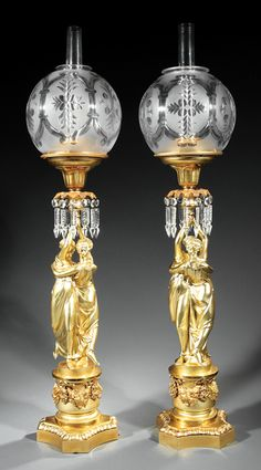 Pair of English Gilt Bronze Figural Solar Lamps, c. to Messenger and Son, Birmingham, pair of classical w. on Sep 2016 Antique Oil Lamps, Antique Lighting, Vintage Lamps, Victorian Lighting, Victorian Lamps, Chandeliers, Chandelier Design, Lampe Decoration, Art Deco Lamps