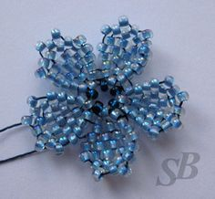 Master class - Forget-me-not flower.  Schema and pictures ~ Seed Bead Tutorials
