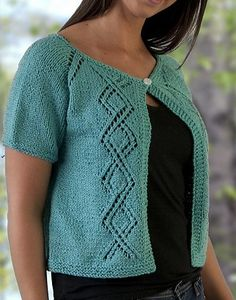 Free knitting pattern for top down seamless cropped cardigan with diamond lace and short sleeves
