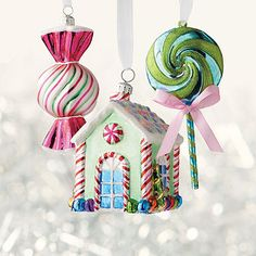 60-pc. Toute Sweets Ornament Collection - The sweetest tree of all is decorated with our Toute Sweets 60-piece Ornament Collection. A variety of glass shapes, including ribbon candies, lollipops, and gingerbread houses are included in the collection. Pair the ornaments with optional designer ribbon and picks for a coordinated holiday look.