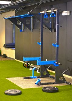 """Squat Stand System Pair of Squat Stands INCLUDES:     * Connecting Base Tube     * Collar and Accessory Holder on each Stand     * (2) Weight Plate Storage Horns     * (1) Pair of Adjustable J-hooks for Racking Olympic Bar 11"""" to 64""""       Above Ground     * Weld-on Base Tabs for Anc"""