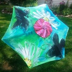 Painted market patio umbrella.