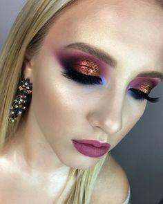Color evening makeup with pigments from individual makeup course with 💜 My beautiful muse 💕 Glam Makeup, Cute Makeup, Gorgeous Makeup, Makeup Inspo, Bridal Makeup, Makeup Inspiration, Hair Makeup, Baddie Makeup, Makeup Lips