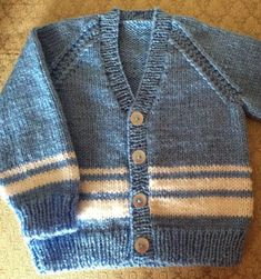 Vee Neck Cardigan in 2 sizes for a boy or girl Knitting pattern by heathbrook - Tricot 02 Baby Cardigan Knitting Pattern Free, Knitting Patterns Boys, Baby Sweater Patterns, Knit Baby Sweaters, Boys Sweaters, Cardigan Pattern, Knitting For Kids, Neck Pattern, Cardigan Bebe