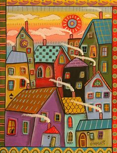 Window Cats 11x14 ORIGINAL CANVAS PAINTING houses city FOLK ART Karla Gerard #FolkArtAbstractPrimitive