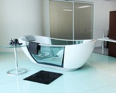 Smart Hydro Smart Bathtub... cleans itself, activate from your smartphone, alerts you when desired temp is reached and has a keep warm function... would you ever get out of this???