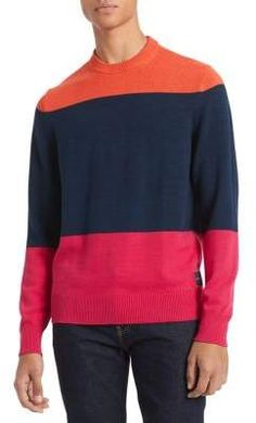 Calvin Klein Men's Colorblocked Sweater In Spicy Orange Pullover Sweaters, Men Sweater, Crewneck Sweater, Calvin Klein Men, Plus Size Activewear, Orange, Dresses With Leggings, Sweater Outfits, Baby Clothes Shops