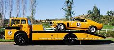 1970 Bud Moore Ford Mustang Boss 302 SCCA Trans Am racer and Ford COE Transporter. Ford Classic Cars, Classic Trucks, Automobile, Old Race Cars, Vintage Race Car, Vintage Trucks, Retro Vintage, Pony Car, Trans Am
