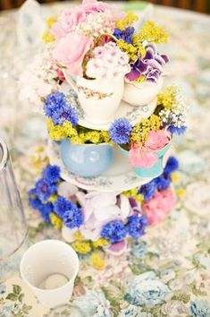 cake stand and flowers