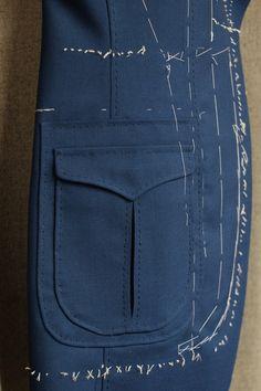 鈴木健次郎氏によるPoints selliers (ポワンセリエ:ボタンホール用のシルク糸を使って縫うハンドステッチのこと)