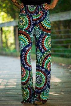 These palazzos are so colorful and exciting! We love the fun print and it is so fun for the summer! The jewel tones are simply amazing with the breezy, cool material is perfect for the warm months!