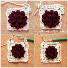 My Hobby Is Crochet: Dahlia in a square - Granny Square - Free Pattern with Photo Tutorial
