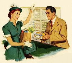 Enthusiastic Margarine Purchase... grocery shopping in hat and gloves. Long before WalMart was invented