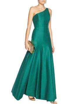 Halston Heritage one-shoulder cotton and silk blend gown