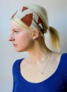 Wide Linen Rust and Natural Wide Headband Ikat by TheBlondeFactory, $13.00