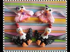 Aula prendedores de cortina em biscuit - coruja e galinha