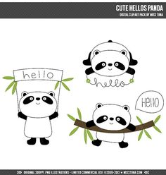 Cute Hellos Panda Digital Clipart Clip Art Illustrations - instant download - limited commercial use ok