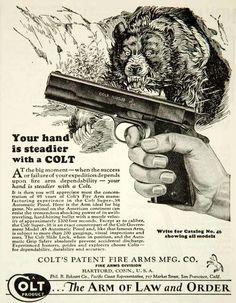1931 Ad Colt M1911 .45 Bear Hunting