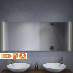 Design badkamer LED spiegel met verwarming en sensor 140×60 cm