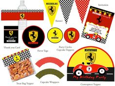 RACE CAR FERRARI Birthday Party Printable