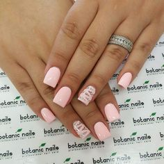 Pretty pale pink nail design