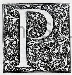 INSTANT DOWNLOAD French Letter P Illuminated Lettering Ornate Very Hi Res 6x6 600 dpi Image Download