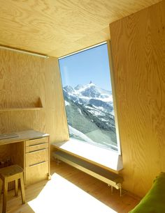 Lies at an altitude 3256 metres cliff above Zinal in the heart of the valaisan alps, the New Tracuit Hut is a mountain hut designed by Savioz Fabrizzi for Wabi Sabi, Contemporary Architecture, Interior Architecture, Best Interior Paint, Interior Design, Plywood Interior, Minimal Home, Decoration, Home Deco