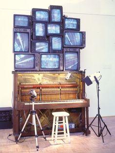 Nam June Paik- Piano Piece 1993 Closed-circuit video sculpture 120 x 84 x 48 inches (304.8 x 213.4 x 121.9 cm)