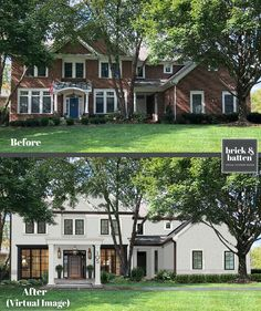 Are you looking for our best front door ideas for an easy simple curb appeal fix? If so, take a good look at your FRONT DOOR. Yes, it's that easy! Colonial House Exteriors, Painted Brick Exteriors, Colonial Exterior, Modern Farmhouse Exterior, Colonial House Remodel, Modern Colonial, Dutch Colonial, Traditional Exterior, White Farmhouse